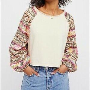 Free People puff sleeve crop sweatshirt